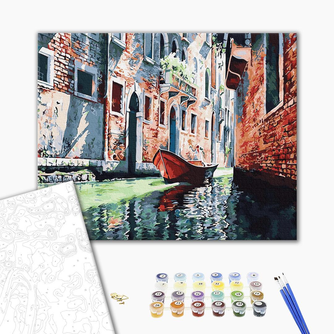 Картина по номерам Города - Гондола на канале Венеции