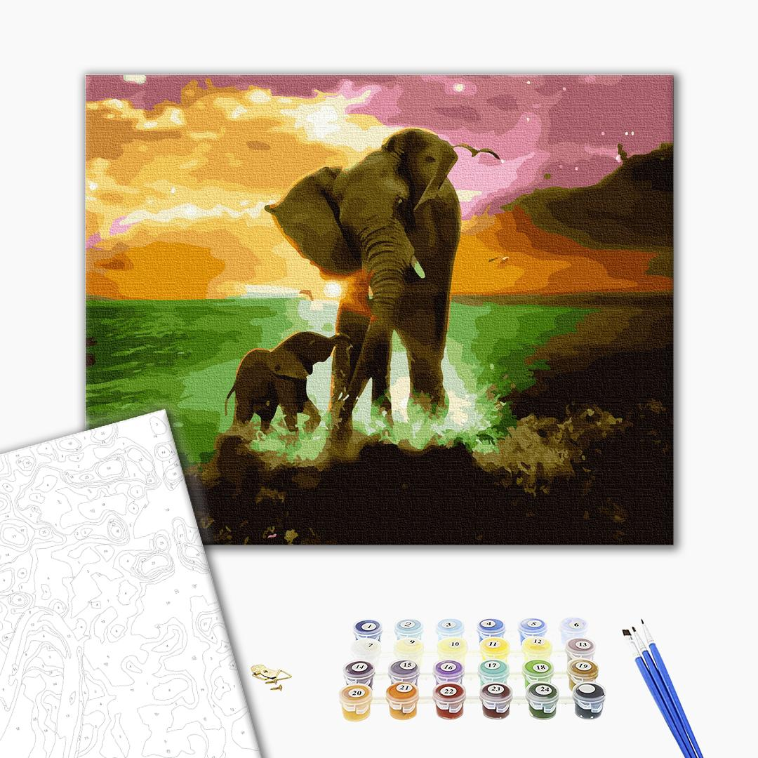 Картина по номерам Животные, птицы и рыбы - Игры слонов