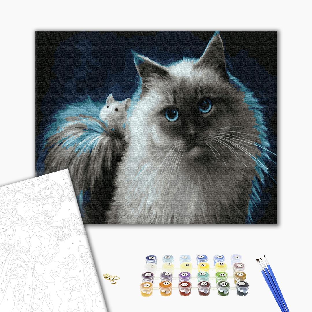 Картина по номерам Животные, птицы и рыбы - Котик і мишка