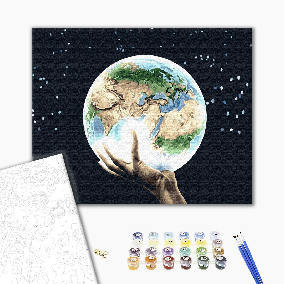 Картина по номерам Абстракции - Планета в руках людини