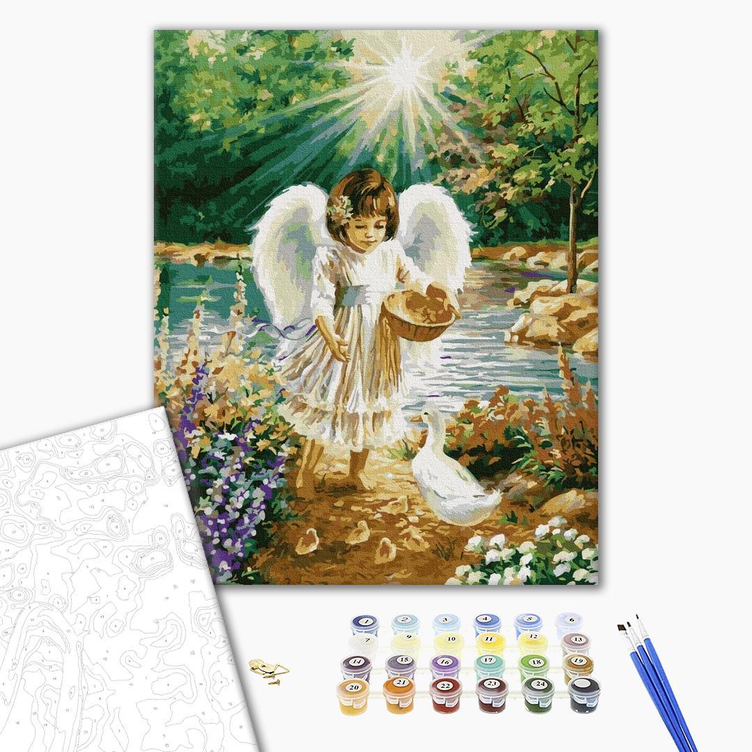 Картина по номерам Дети и ангелочки - Ангел с утятами