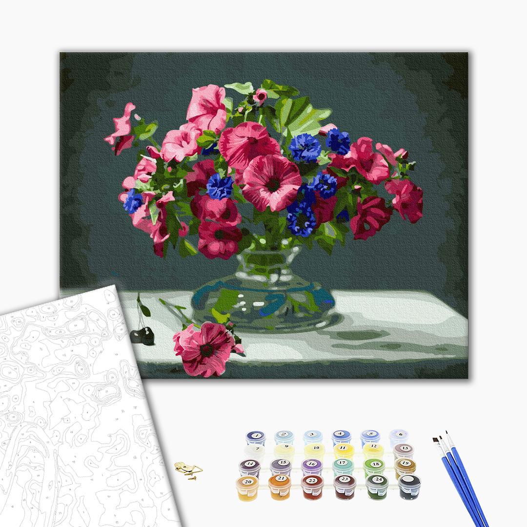 Картина по номерам Цветы - Букет розовых петуний
