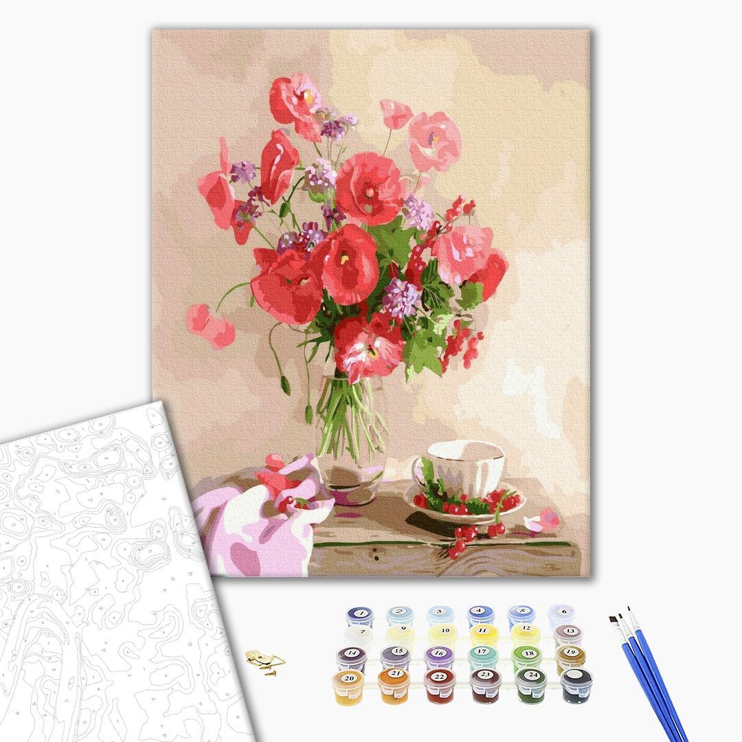Картина по номерам Цветы - Букет маков на столе