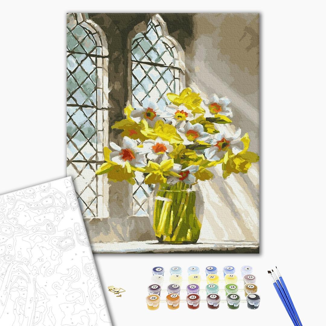 Картина по номерам Цветы - Яркие нарциссы на окне