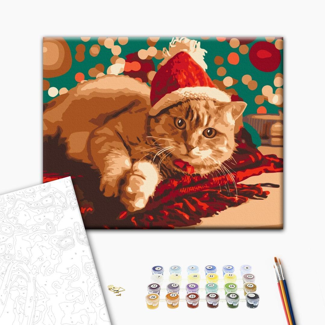 Картина по номерам Зима, Новый год, Рождество - Санта котик