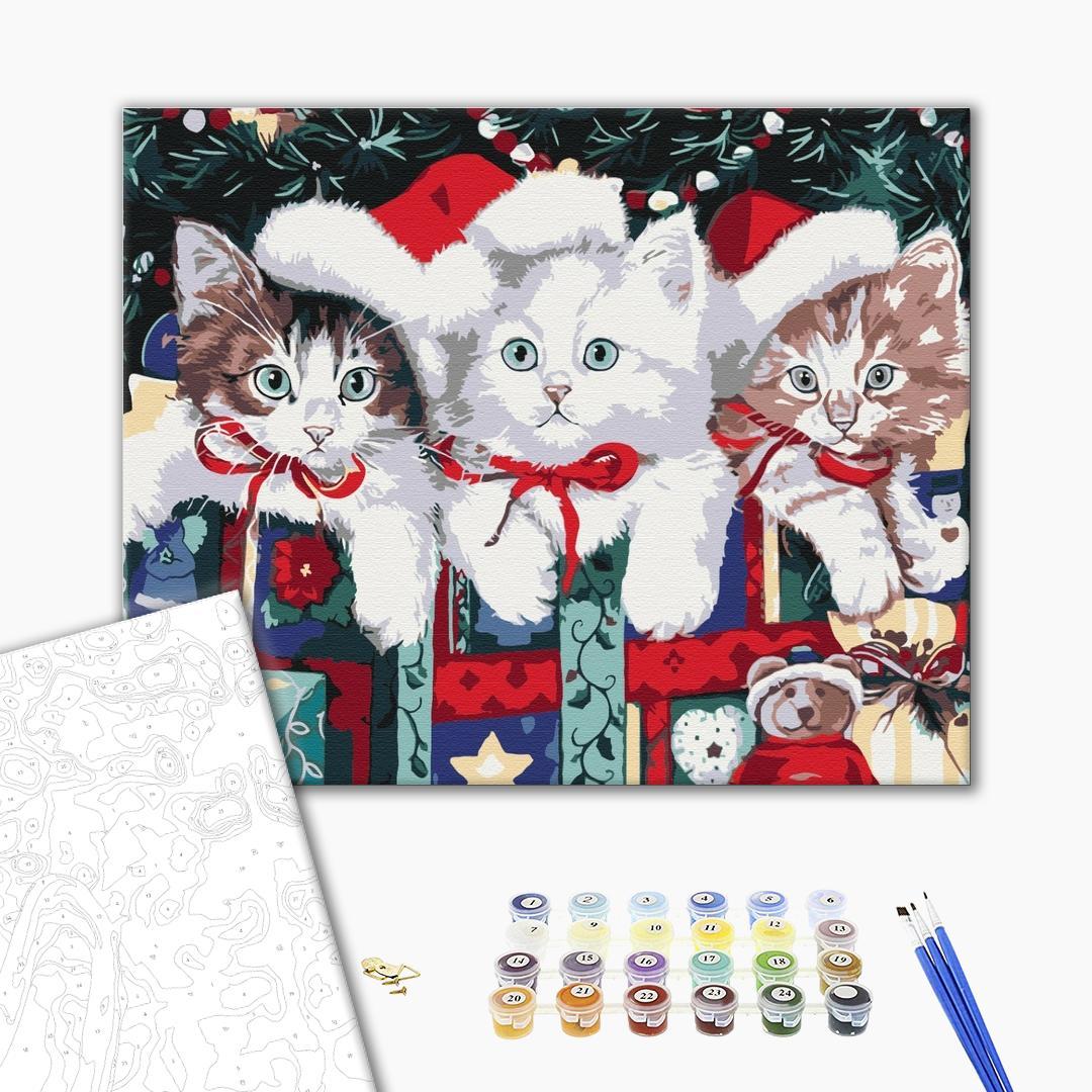 Картина по номерам Зима, Новый год, Рождество - Новорічні котики