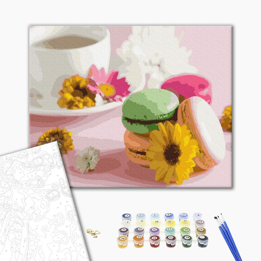Картина по номерам Натюрморты - Цветочные макаруны