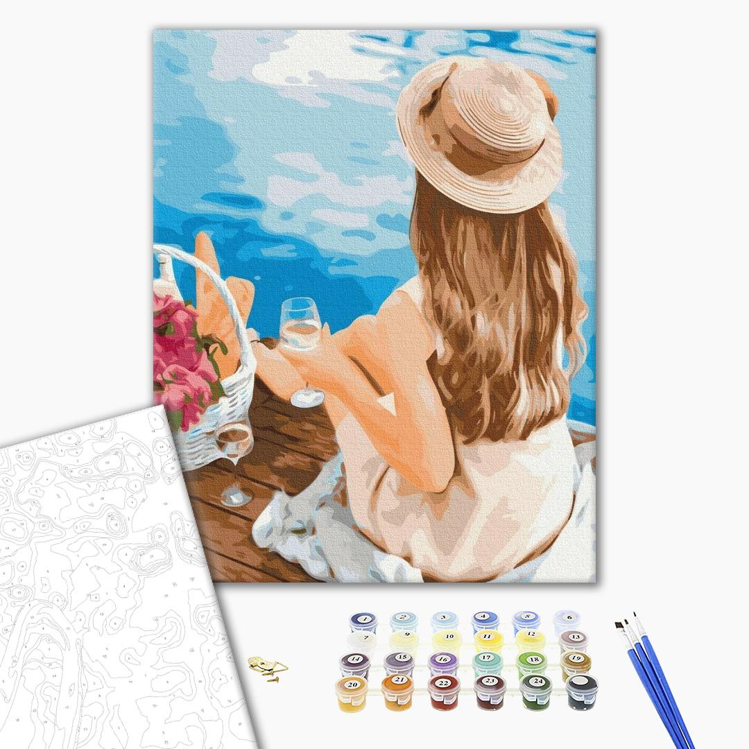 Картина по номерам Уникальные сюжеты - Мечтательница в шляпке