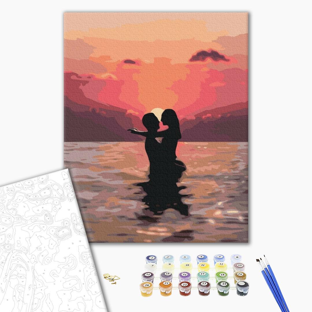 Картина по номерам Уникальные сюжеты - Влюбленные на закате