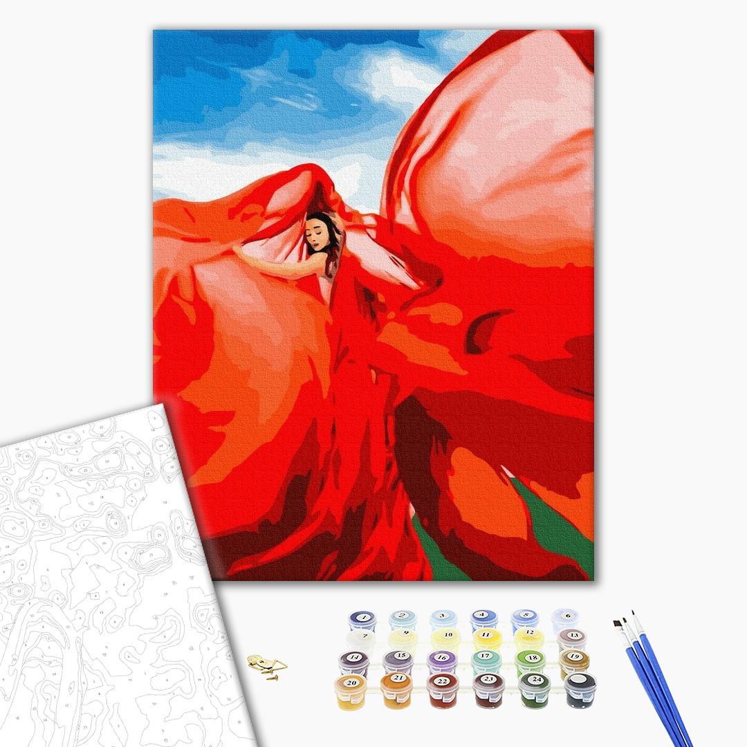Картина по номерам Уникальные сюжеты - Жінка в червоному