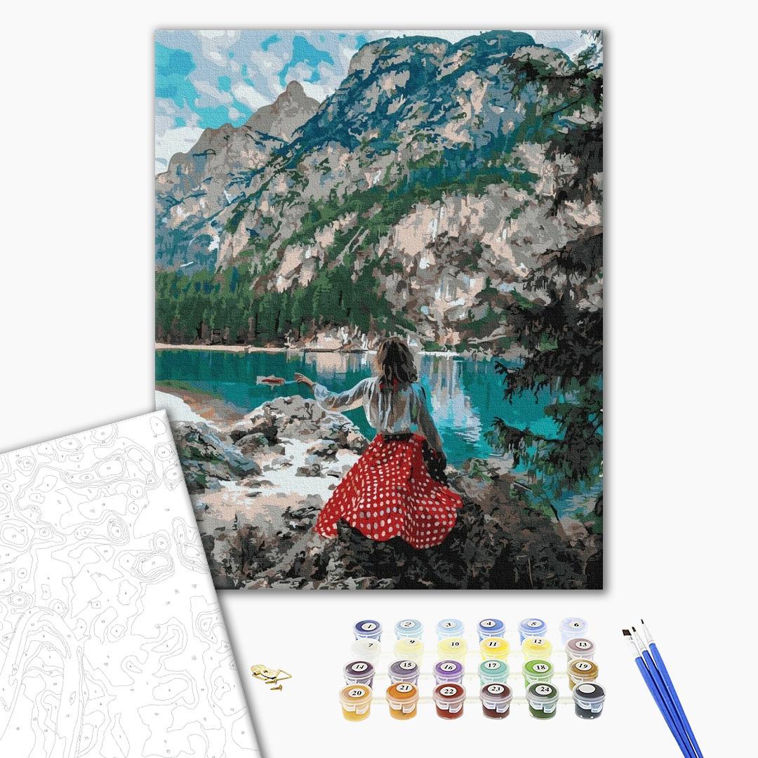 Картина по номерам Уникальные сюжеты - Мандрівниця біля озера