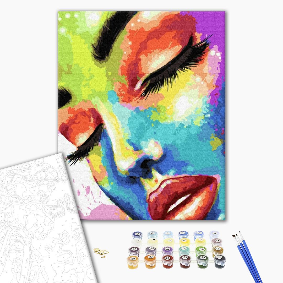 Картина по номерам Абстракции - Жінка в барвах