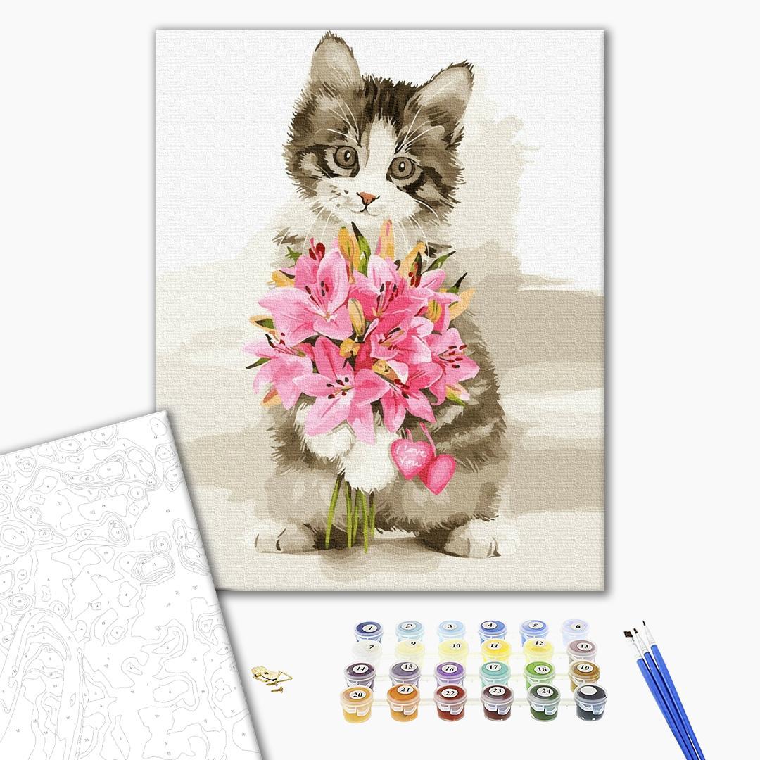 Картина по номерам Животные, птицы и рыбы - Котик з букетом