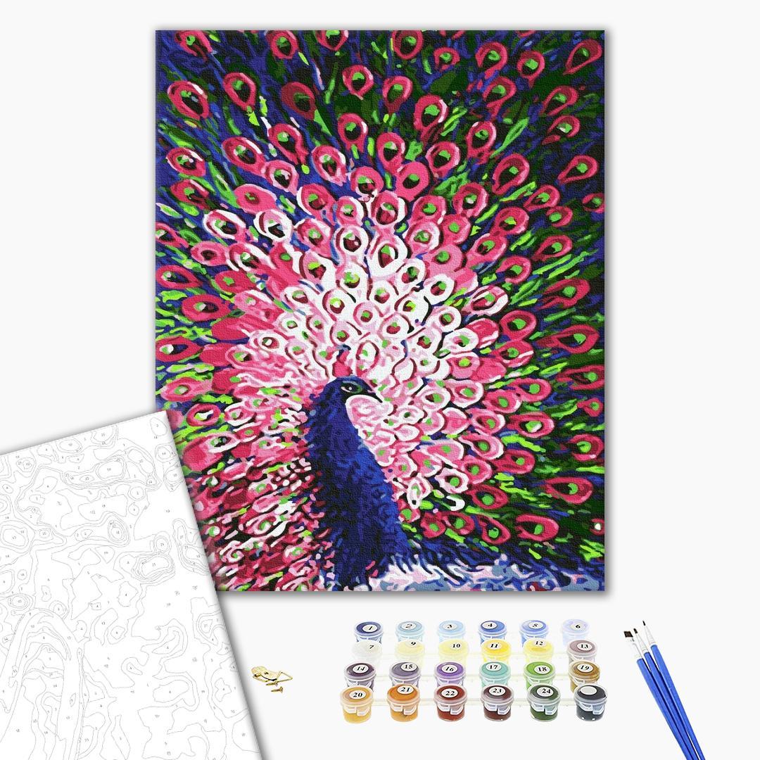 Картина по номерам Животные, птицы и рыбы - Поважний павлін