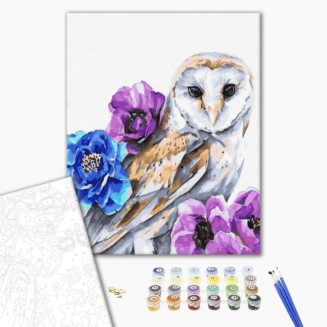 Картина по номерам Животные, птицы и рыбы - Совушка в квітах