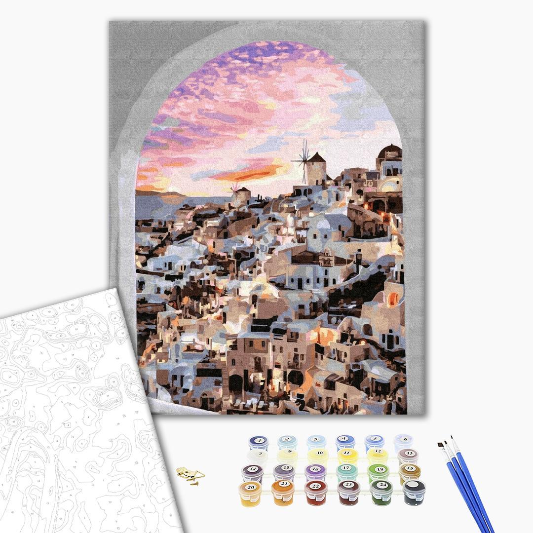 Картина по номерам Города - Окно в Санторини