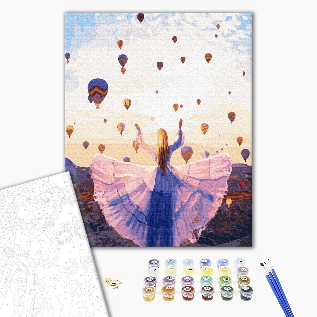 Картина по номерам Люди на картинах - Чарівні кулі Каппадокії
