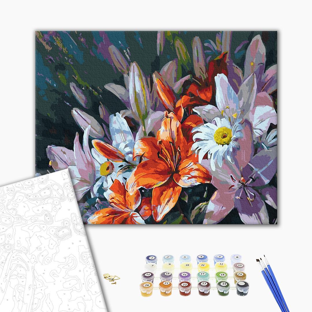Картина по номерам Цветы - Букет из цветных лилий