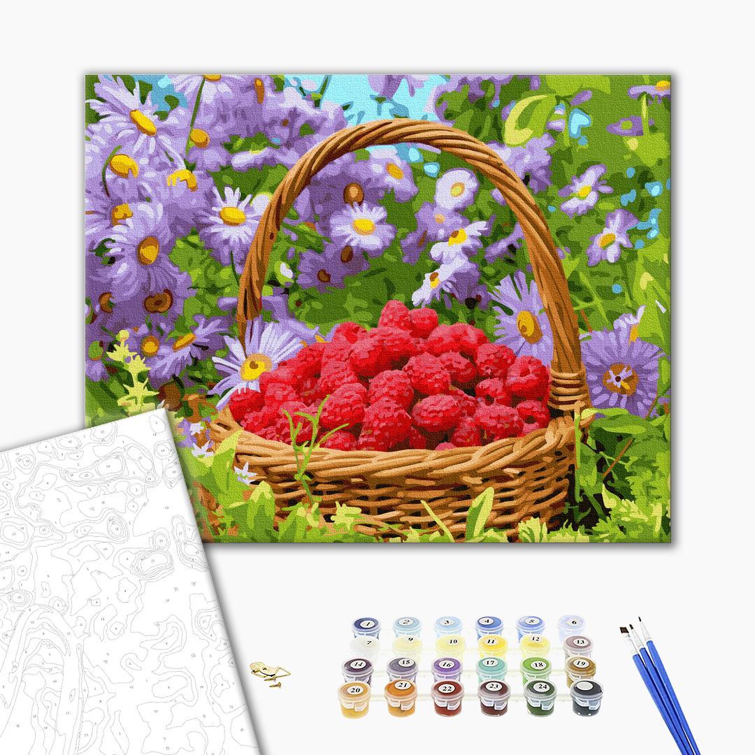 Картина по номерам Натюрморты - Корзинка спелых малин