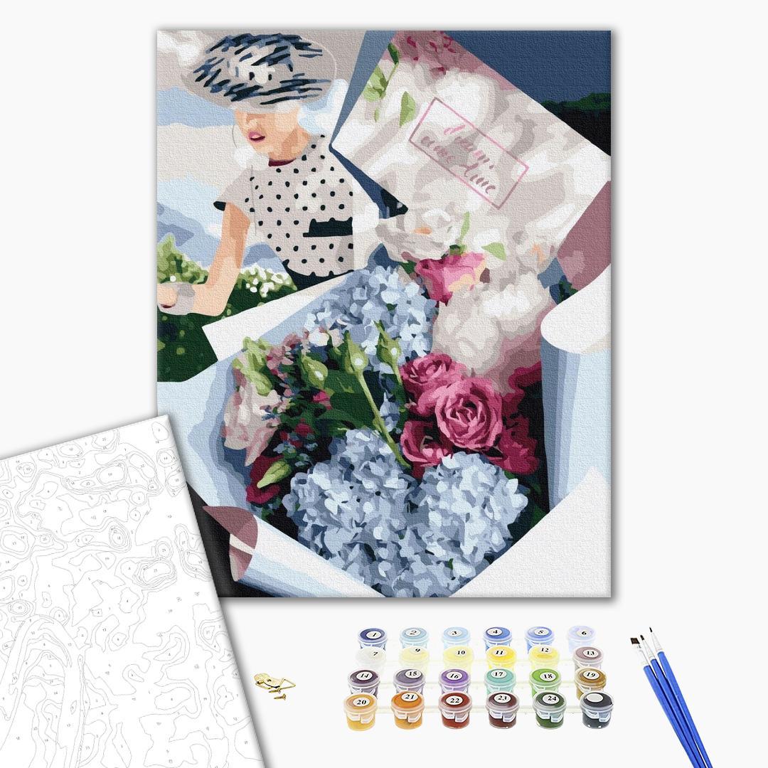 Картина по номерам Цветы - Букет для ретро леді