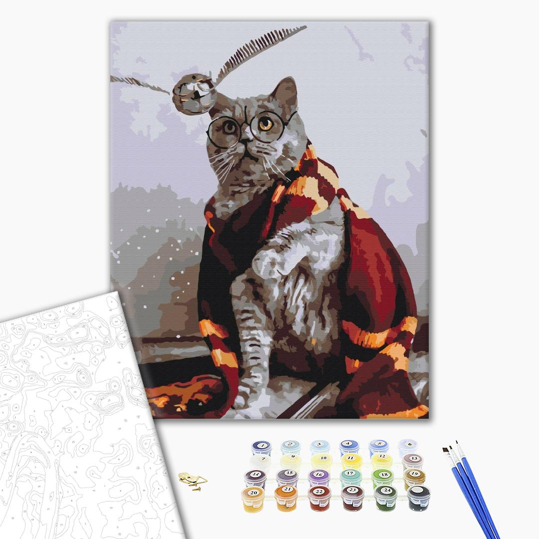 Картина по номерам Уникальные сюжеты - Котик ловец снитча