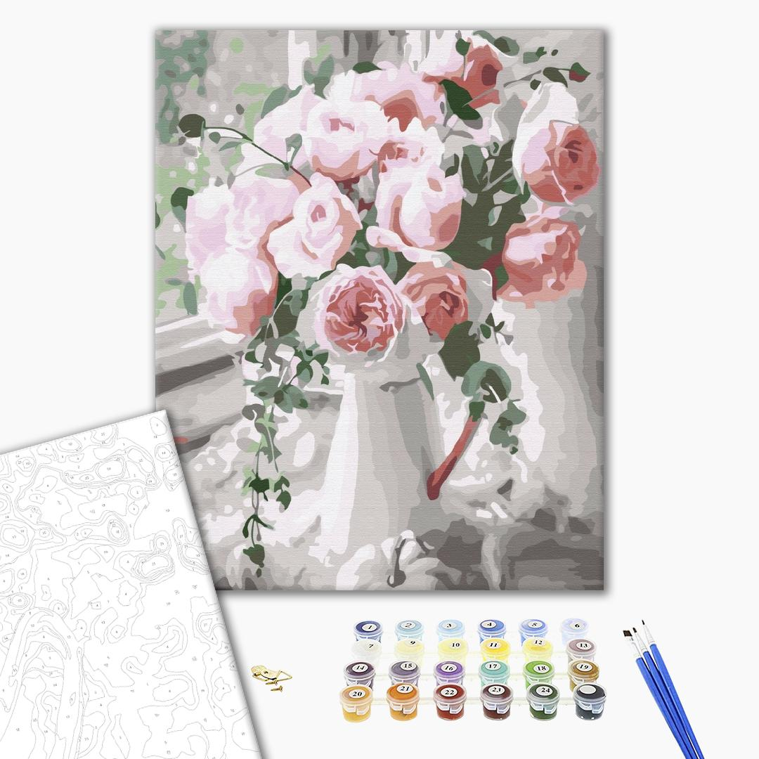 Картина по номерам Цветы - Букет нежных роз