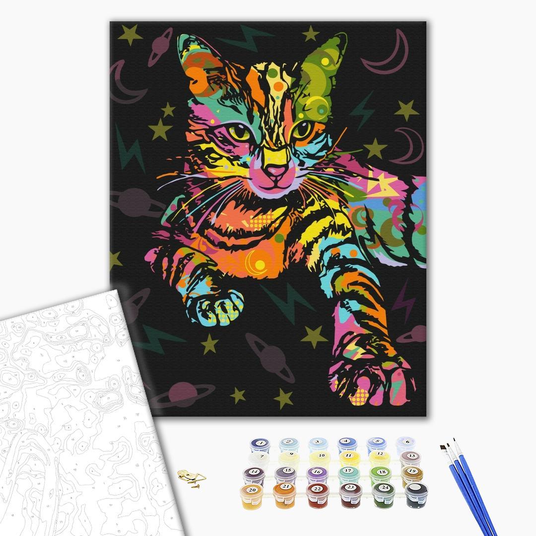 Картина по номерам Поп-арт - Космічний кіт