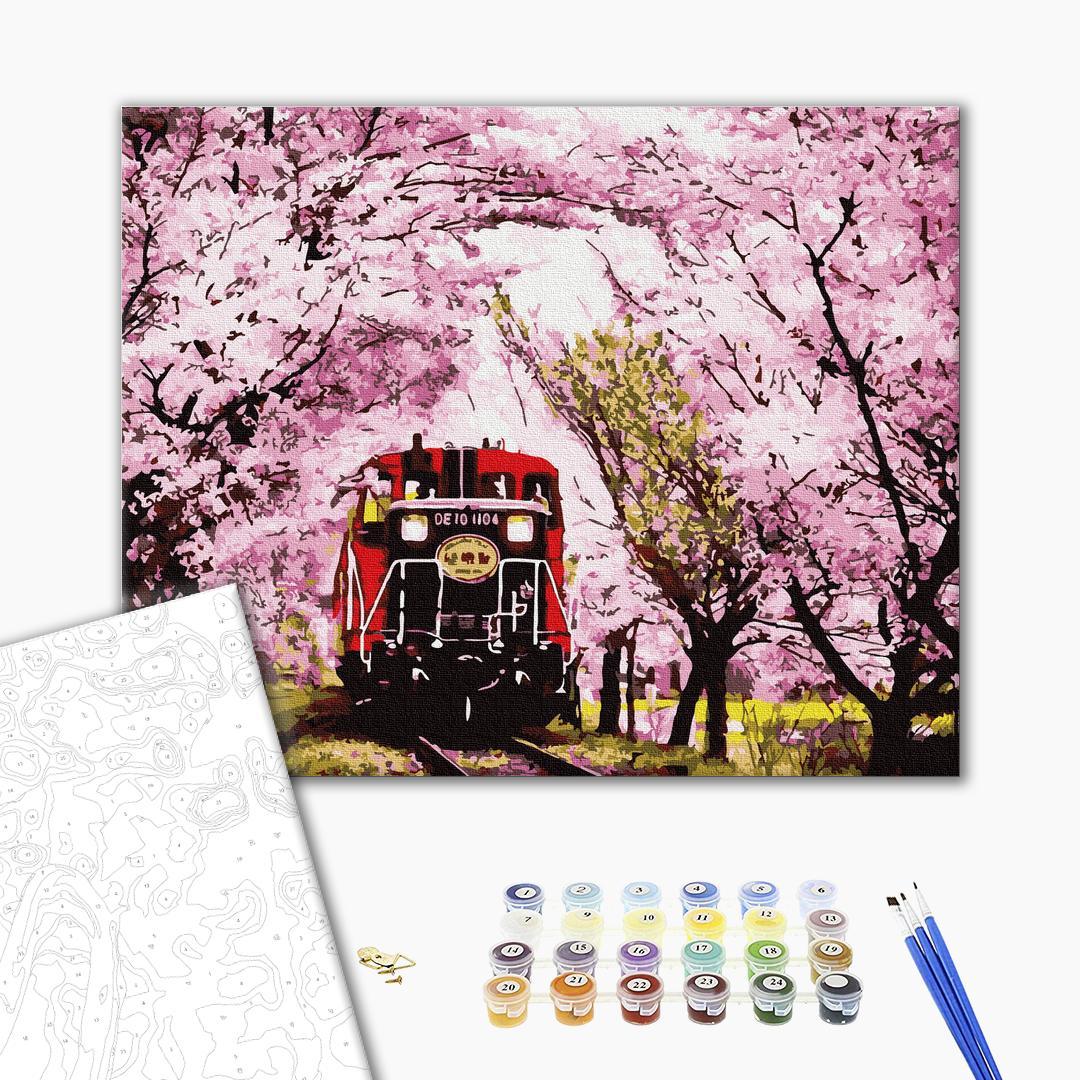 Картина по номерам Пейзажи - Поезд в весну