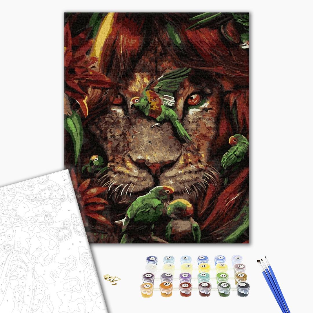 Картина по номерам Животные, птицы и рыбы - Тропический лев