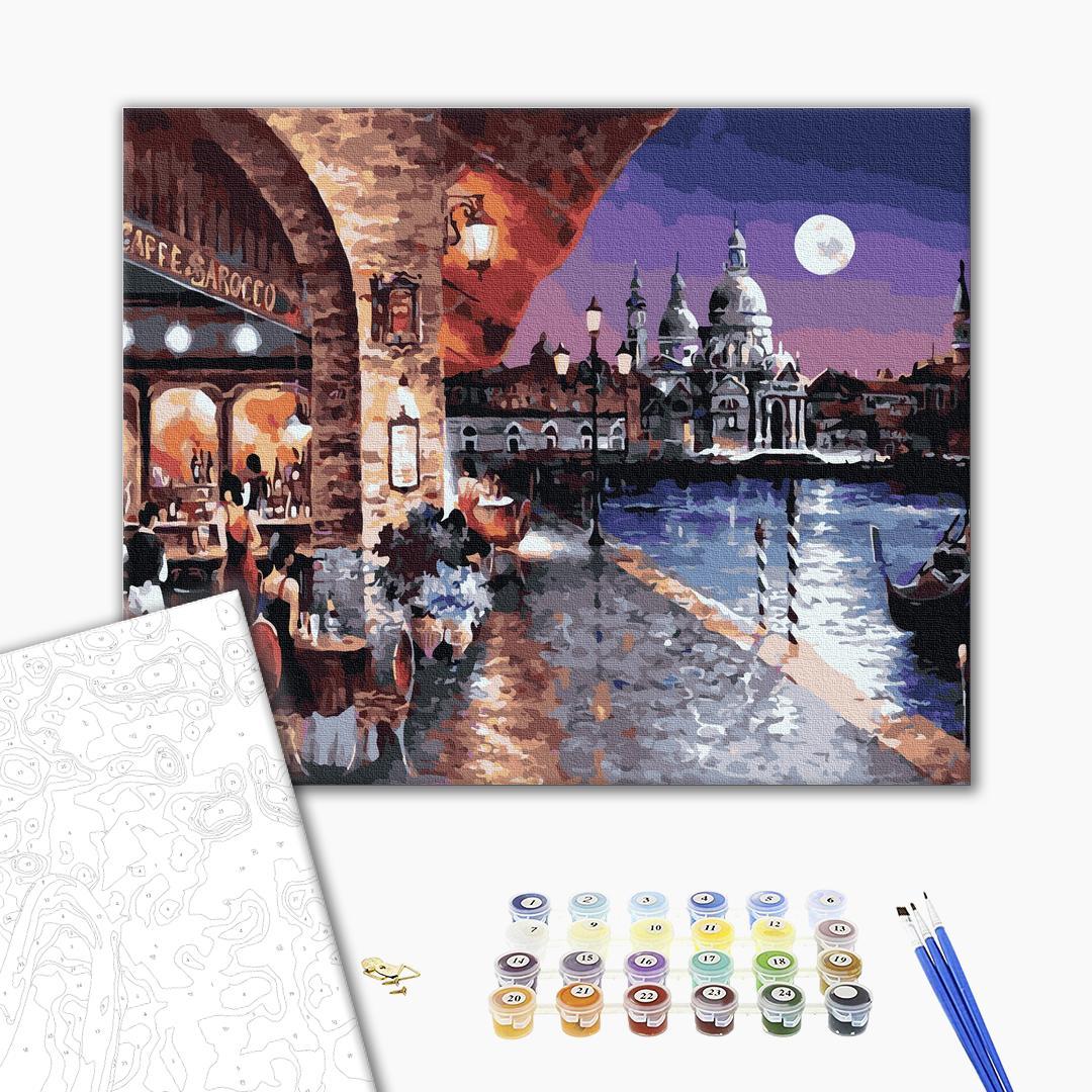 Картина по номерам Города - Вечірня кав'ярня Венеції