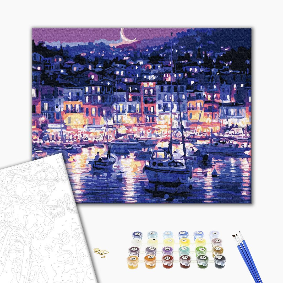 Картина по номерам Пейзажи - Огни ночного побережья