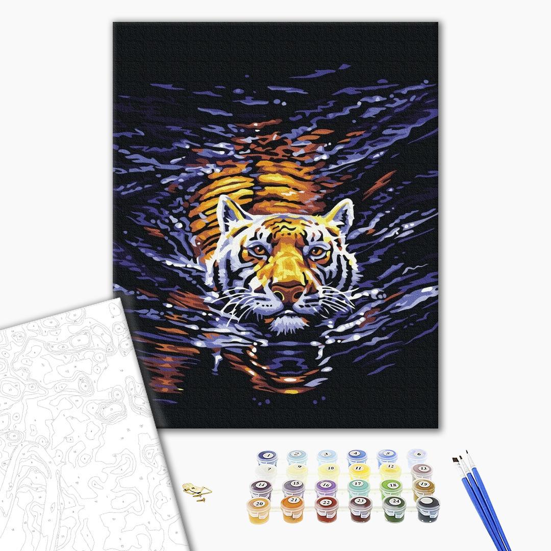 Картина по номерам Животные, птицы и рыбы - Тигр плавець