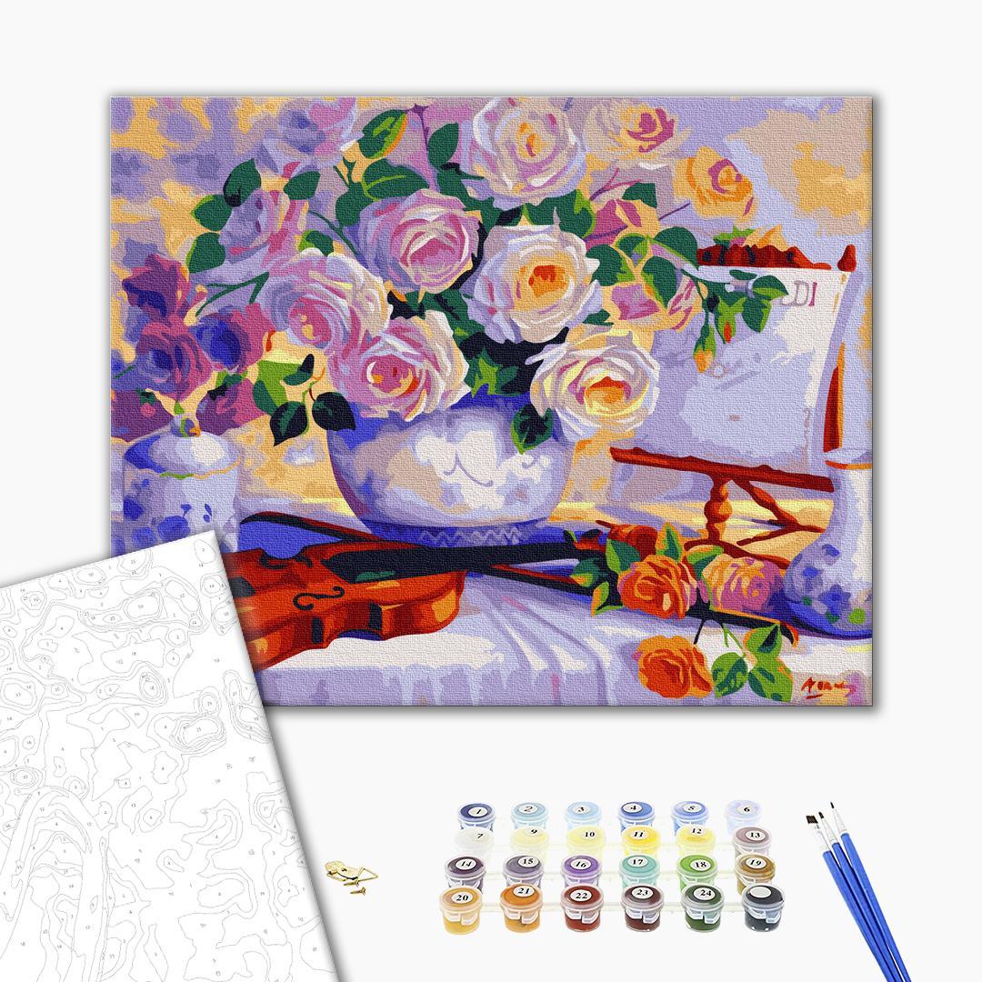 Картина по номерам Цветы - Троянди зі скрипкою