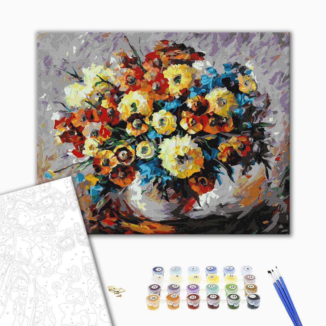 Картина по номерам Цветы - Букет масляними фарбами