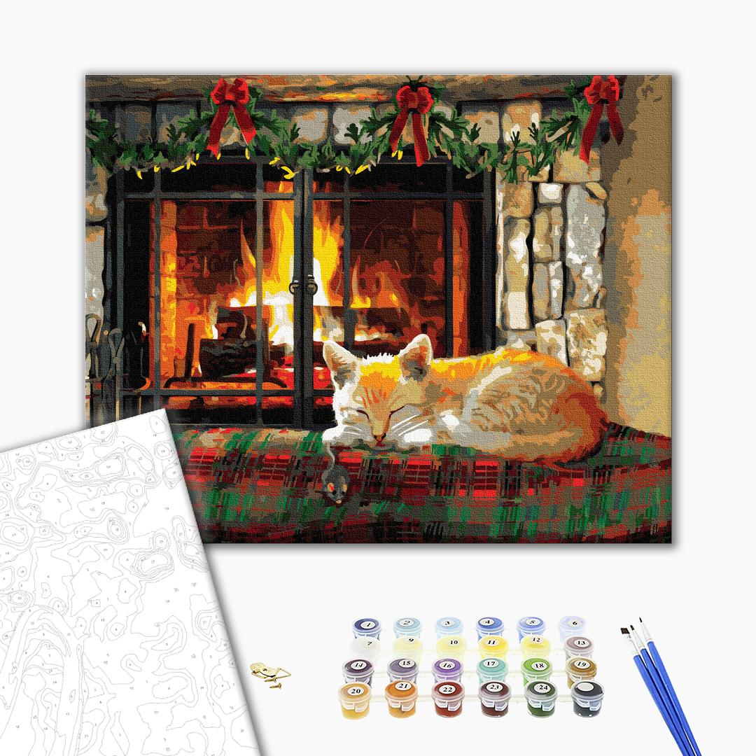 Картина по номерам Зима, Новый год, Рождество - Котик біля каміну