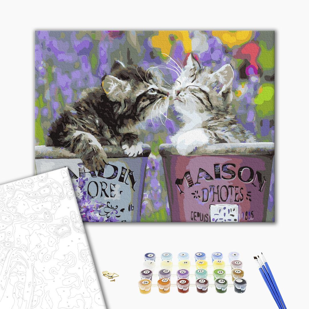 Картина по номерам Животные, птицы и рыбы - Котики в горшочках