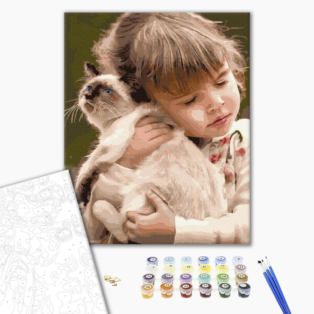 Картина по номерам Дети и ангелочки - Любимая киса