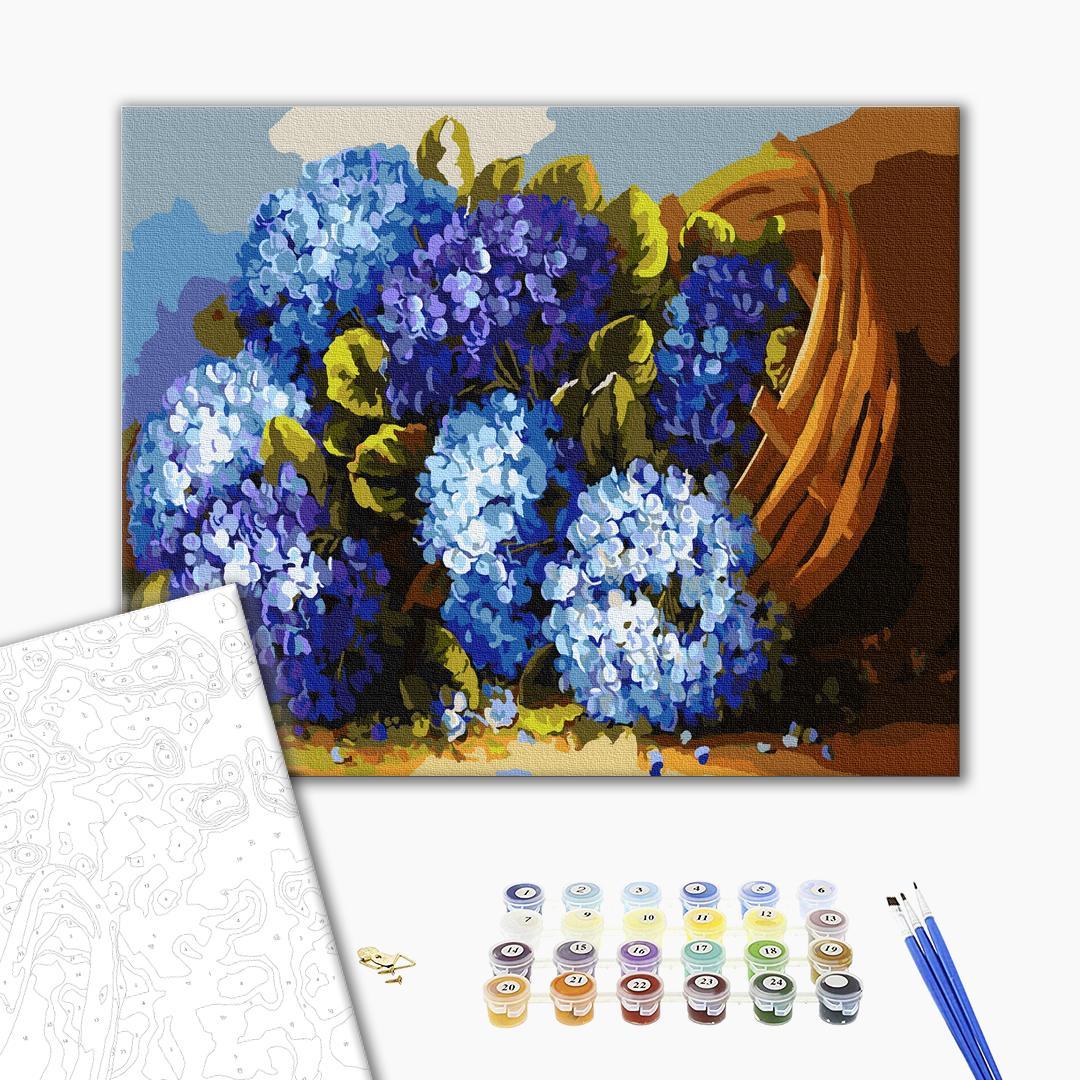 Картина по номерам Цветы - Синие цветы в корзинке