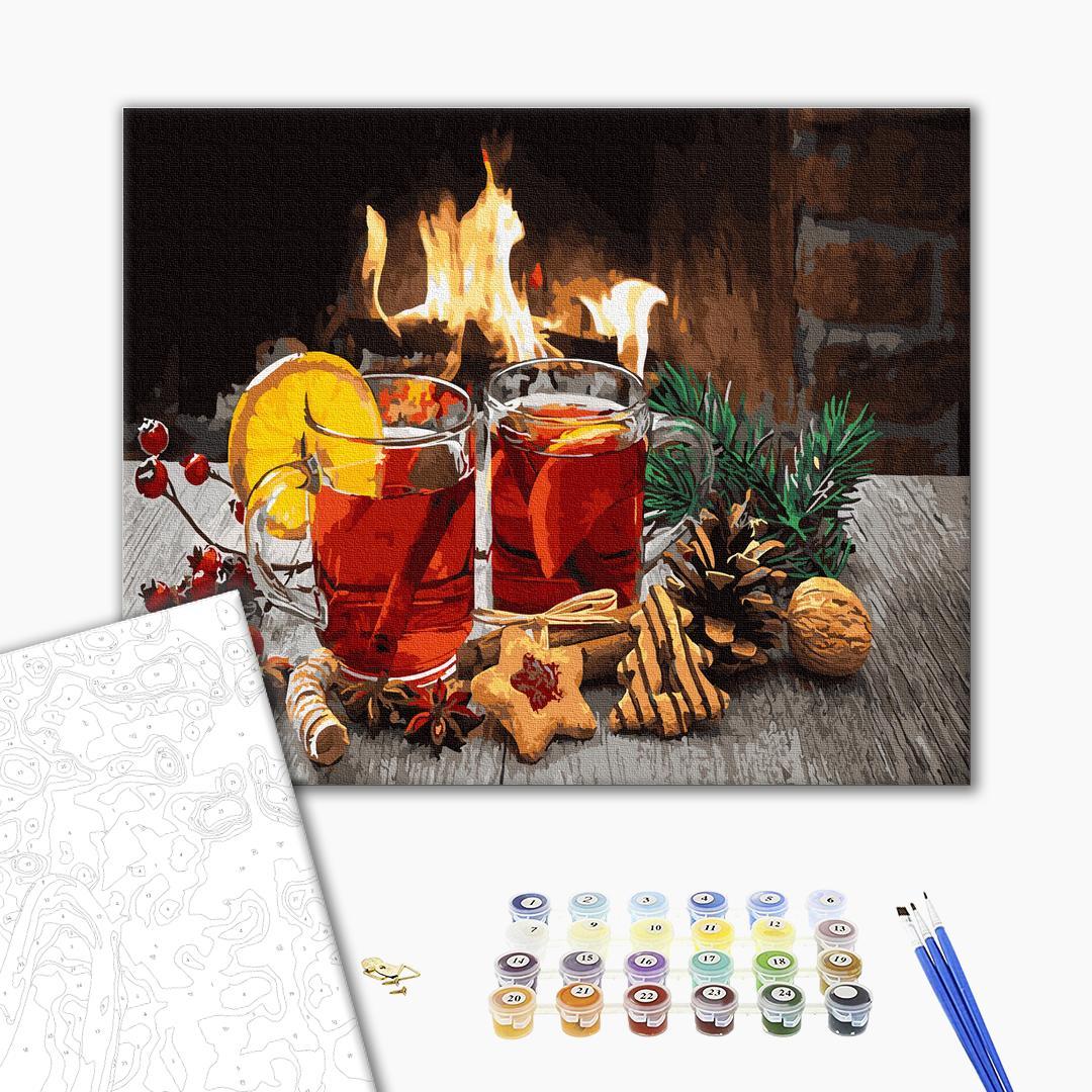 Картина по номерам Зима, Новый год, Рождество - Рождественский глинтвейн
