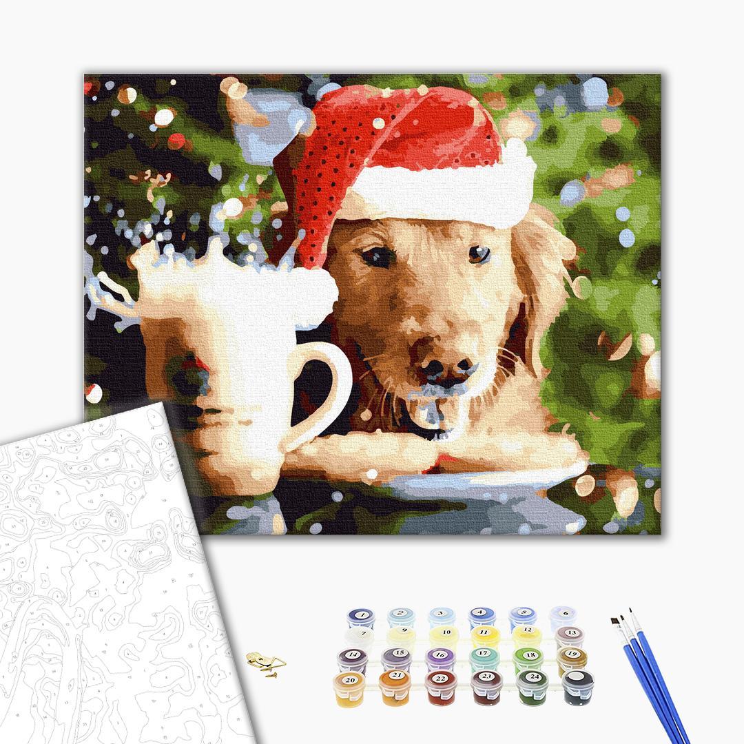 Картина по номерам Зима, Новый год, Рождество - Новорічний собачка