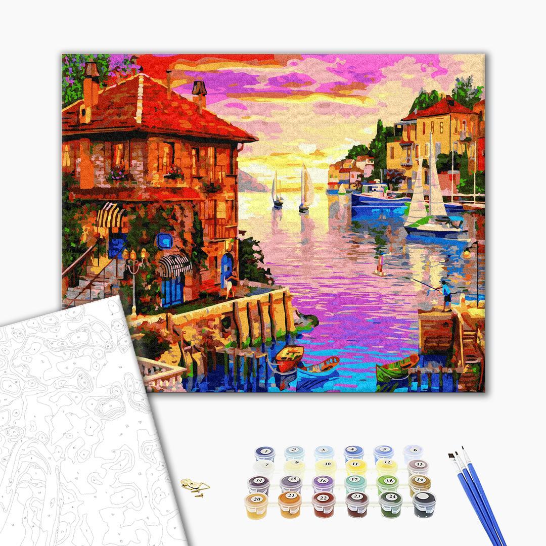 Картина по номерам Пейзажи - Яскраве приморське містечко