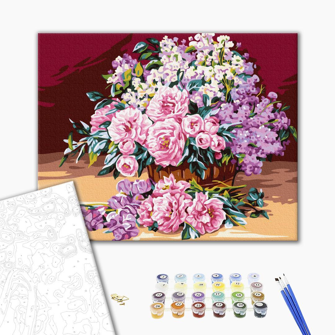 Картина по номерам Цветы - Нежный розовый букет