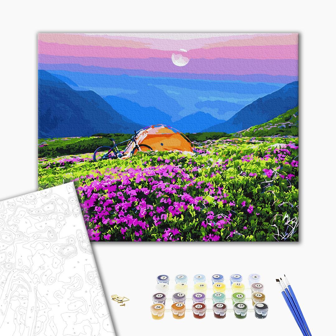 Картина по номерам Пейзажи - Палатка в живописных горах