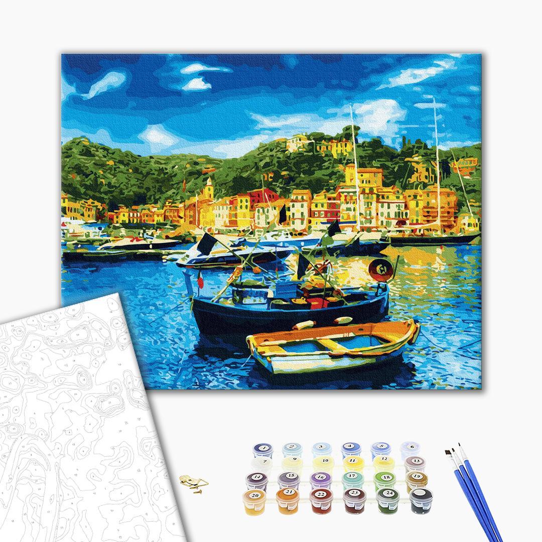 Картина по номерам Пейзажи - Лодки на побережье