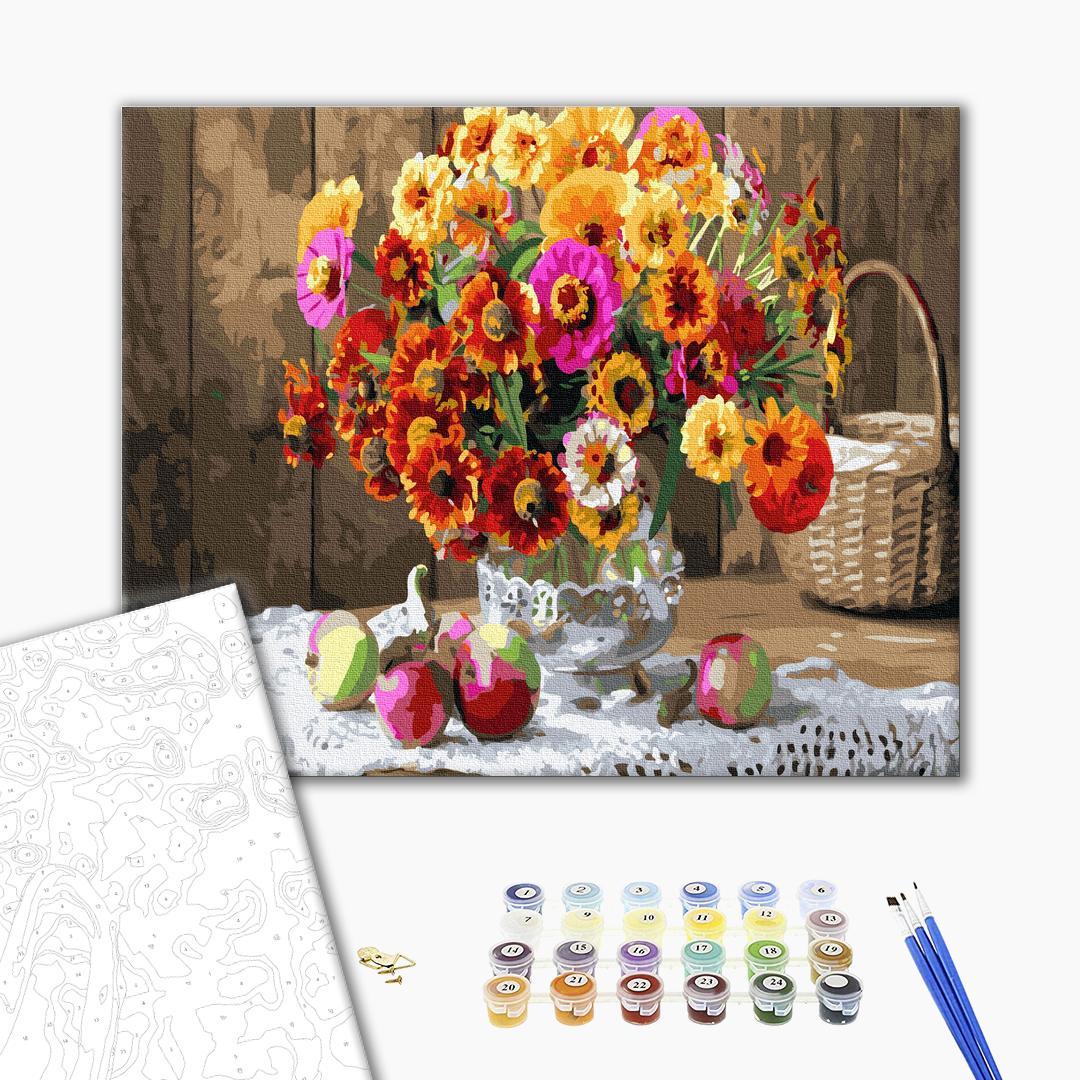 Картина по номерам Цветы - Натюрморт з кольоровими циніями
