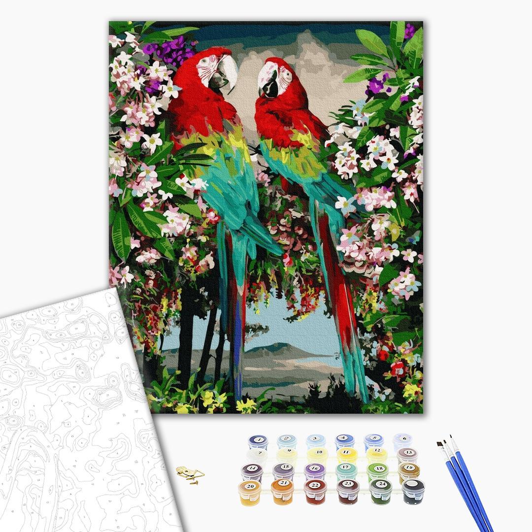 Картина по номерам Животные, птицы и рыбы - Яскраві папуги в цвіту