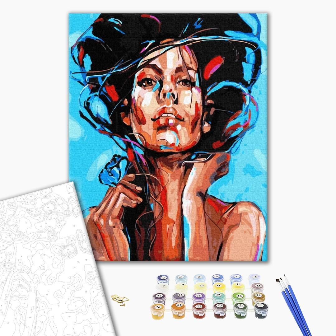 Картина по номерам Поп-арт - Живописный портрет женщины