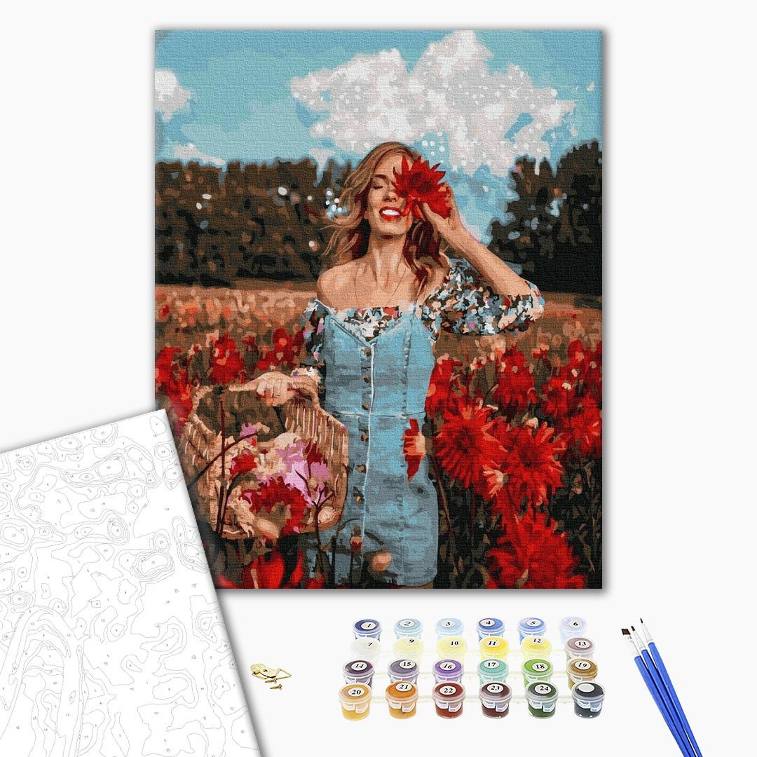 Картина по номерам Уникальные сюжеты - Красуня в квітучому полі