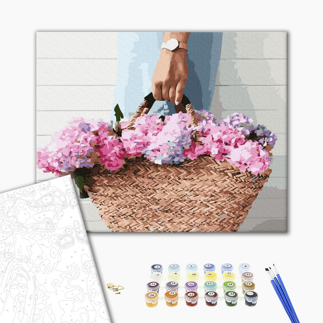 Картина по номерам Цветы - Корзинка з гортензіями