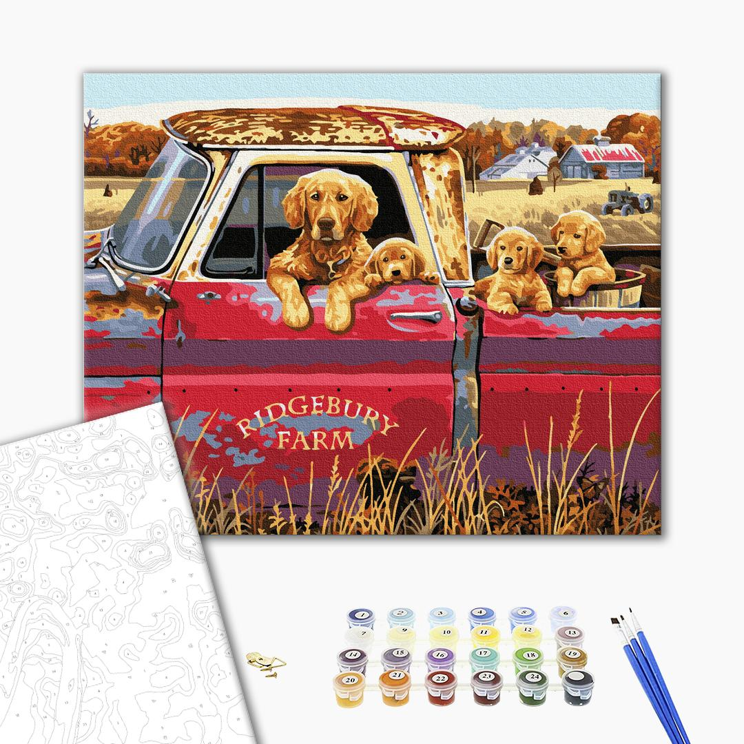 Картина по номерам Животные, птицы и рыбы - Собача сімейка в авто